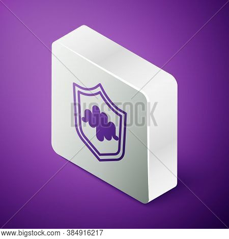 Isometric Line Shield Voice Recognition Icon Isolated On Purple Background. Voice Biometric Access A