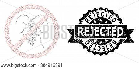 Rejected Scratched Watermark And Vector Forbidden Cockroach Mesh Model. Black Seal Contains Rejected