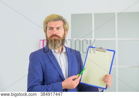 Confident Businessman. Handsome Man With Notepad. Business Man Writing Notes. Bearded Businessman Wi