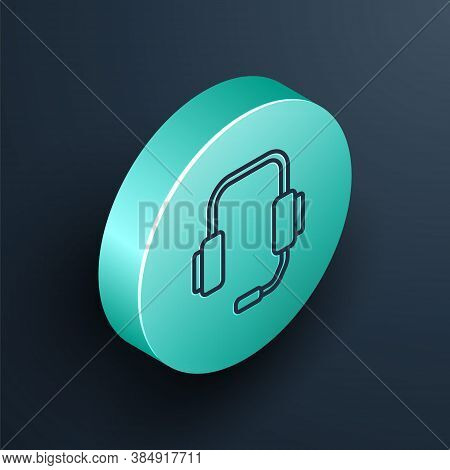 Isometric Line Online Psychological Counseling Distance Icon Isolated On Black Background. Psychothe