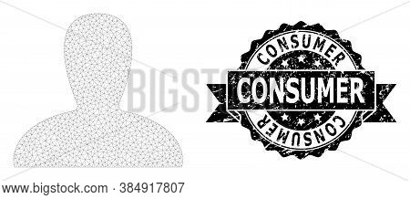 Consumer Textured Seal And Vector Spawn Persona Mesh Model. Black Seal Has Consumer Caption Inside R