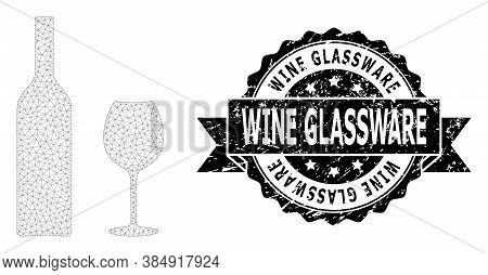 Wine Glassware Unclean Stamp Seal And Vector Wine Glassware Mesh Model. Black Seal Has Wine Glasswar
