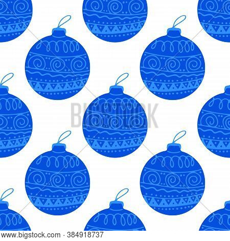 Seamless Pattern Made Frome Hand Drawn Blue Christmas Tree Ball With Doodle Elements. Isolated On A