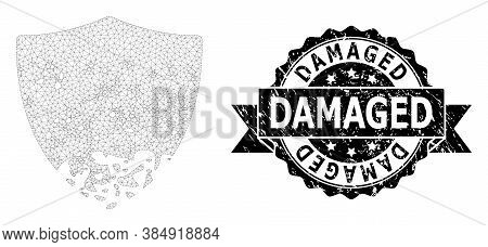 Damaged Unclean Stamp Seal And Vector Damaged Shield Mesh Structure. Black Stamp Seal Includes Damag