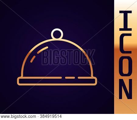 Gold Line Covered With A Tray Of Food Icon Isolated On Black Background. Tray And Lid Sign. Restaura