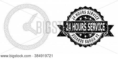 24 Hours Service Corroded Stamp Seal And Vector Clock Mesh Model. Black Stamp Seal Includes 24 Hours