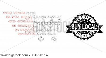 Be Loyal Buy Local Scratched Seal Print And Vector Supermarket Cart Mesh Model. Black Seal Includes