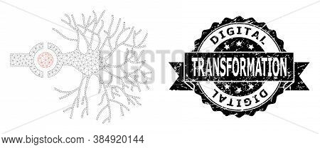 Digital Transformation Dirty Seal Print And Vector Neuron Digital Interface Mesh Model. Black Stamp