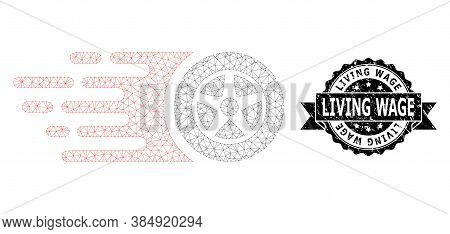 Living Wage Rubber Seal Imitation And Vector Tire Wheel Mesh Structure. Black Stamp Seal Contains Li
