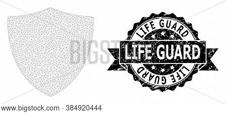 Life Guard Dirty Stamp Seal And Vector Protection Shield Mesh Structure. Black Seal Contains Life Gu