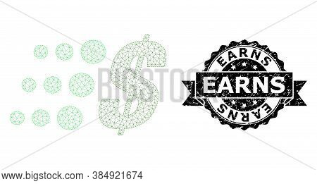 Earns Unclean Stamp And Vector Fast Dollar Mesh Model. Black Stamp Seal Contains Earns Text Inside R