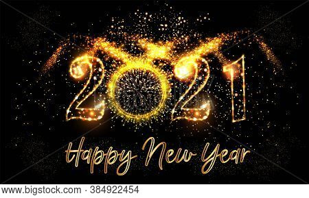 Happy New Year 2021 Background With Golden Light Background Text Vector Illustration - Happy New Yea