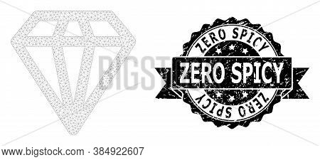 Zero Rubber Stamp Seal And Vector Diamond Mesh Model. Black Stamp Seal Contains Zero Text Inside Rib