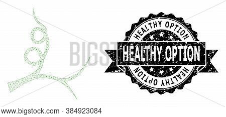 Healthy Option Unclean Watermark And Vector Liana Sprout Mesh Structure. Black Seal Contains Healthy