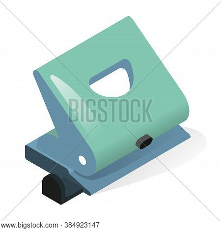 Hole Punch Or Paper Puncher Isometric Icon. Office Tool Using To Create Holes In Sheets, Pages.