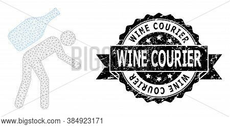 Wine Courier Textured Stamp Seal And Vector Wine Courier Mesh Model. Black Stamp Includes Wine Couri