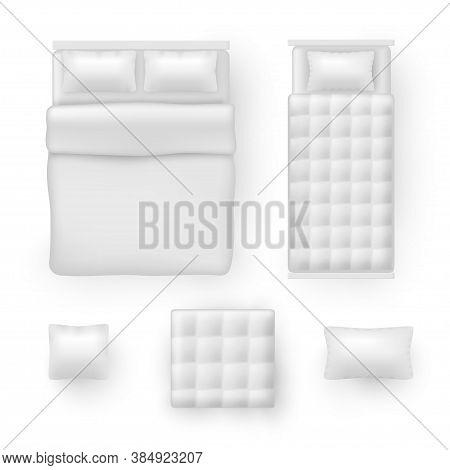 Bed Linen, Bedding Sheets, Bedclothes Realistic Mockups Set. Pillow, Blanket, Cushion, Comforter.