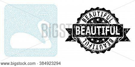 Beautiful Grunge Seal And Vector Crowned Swan Mesh Model. Black Stamp Contains Beautiful Caption Ins