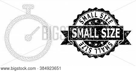 Small Size Unclean Seal Print And Vector Time Tracker Mesh Model. Black Seal Has Small Size Caption