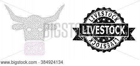 Livestock Dirty Seal Print And Vector Livestock Head Mesh Model. Black Seal Contains Livestock Text