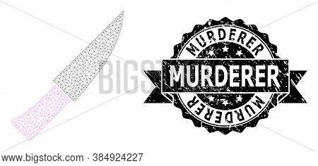 Murderer Grunge Seal And Vector Knife Mesh Model. Black Seal Includes Murderer Title Inside Ribbon A