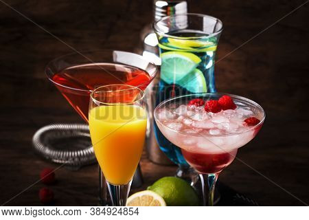 Colorful Summer Cocktails. Cold Alcoholic Beverages And Drinks: Mimosa, Cosmopolitan, Raspberry Marg