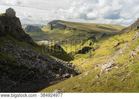 Scenic View Of The Prison Rocky Outcrop In The Quiraing, Isle Of Skye, Scotland. Beautiful Area Of G
