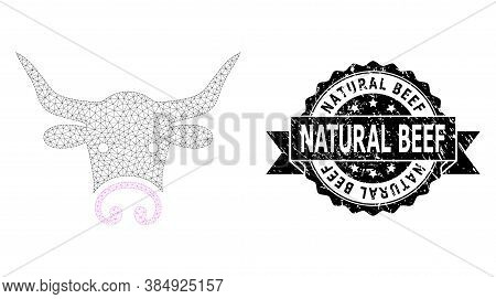 Natural Beef Rubber Seal Imitation And Vector Bull Head Mesh Model. Black Seal Contains Natural Beef