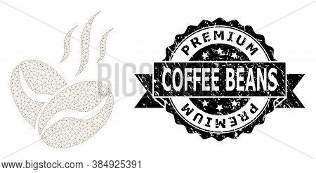 Premium Coffee Beans Rubber Stamp Seal And Vector Coffee Beans Aroma Mesh Structure. Black Stamp Sea