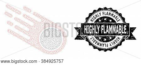 Highly Flammable Corroded Seal And Vector Falling Meteorite Mesh Structure. Black Stamp Includes Hig