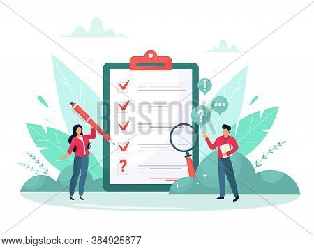 Survey Vector Illustration. Flat Mini Persons Concept With Quality Test And Satisfaction Report. Fee