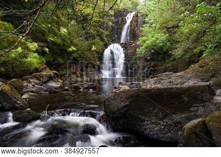 Falls Of Rha On The Isle Of Skye, Scotland. Beautiful Collection Of Many Smaller Falls Flowing In Di