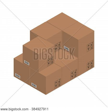 Cardboard Brown Boxes, Crate Boxes 3d, Isometric Boxes. Vector Illustration.