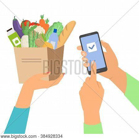 Online Grocery Shopping Concept, Order Food. Vector Illustration.
