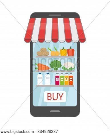 Online Grocery Shopping Concept, Order Food, Healthy Vegetables And Vegetarian Food. Vector Illustra