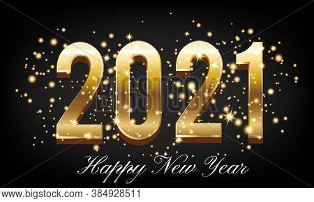 Happy New Year 2021 Golden Text With Burst Glitter On Black Colour Background - Happy New Year 2021