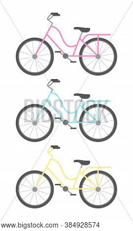 Colorful Classic Bicycles, Sport Transport Icons. Vector Illustration.