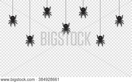 Hanging Spiders For Halloween Decoration. Scary And Creepy Halloween Background. Scary Spiders Hangi