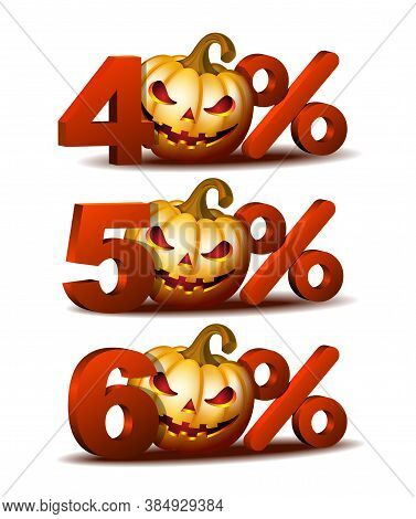 Forty, Fifty And Sixty Percent Discount Icon With Scary Jack O Lantern Halloween Pumpkin.