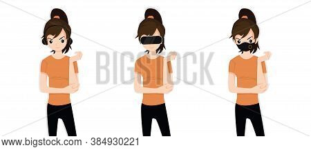 Women Covering Ears With Headphones, Eyes With Vr Device And Mouth With Protection Mask As Looking L
