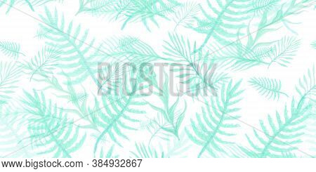 Leaf Abstract Background. Lime Watercolor Tropical Summer. Seafoam Leaves Pattern. Retro Hawaii Patt
