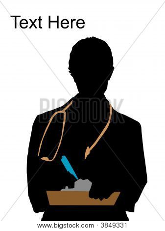 Doctor Posing With Writing Pad And Pen