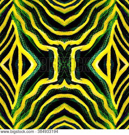 Black Animal Stripes Seamless. Sage Tiger Angry. Black Zebra Seamless Pattern. Neon Watercolor Cheet
