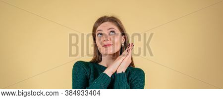 Beautiful Young Woman Dreaming, Isolated On Yelow Background, Banner Size