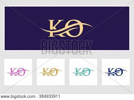 Minimal Ko Logo Design Swoosh. Ko Logo For Business And Company Identity