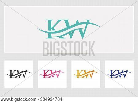 Modern Kw Logo Design Swoosh. Kw Logo For Business And Company Identity