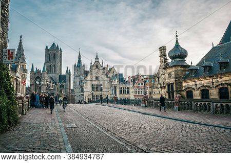 Belgium, Gent - January 02, 2018: Medieval City Of Gent (ghent) In Flanders With Saint Nicholas Chur