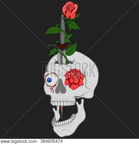 Illustration Of Skull Dagger And Roses, Traditional Art