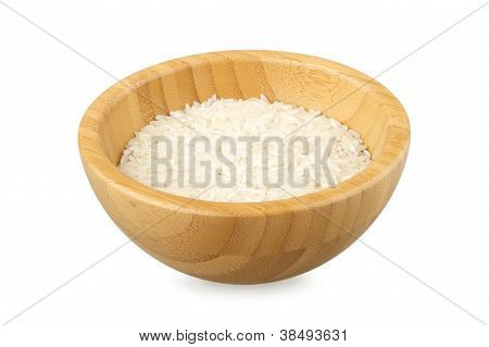 Bowl Partially Filled With Raw Rice