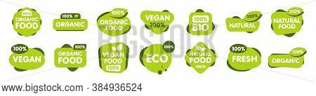 Set Of Vegan, Eco, Bio, Organic, Fresh, Healthy, 100 Percent, Natural Food. Natural Product. Collect